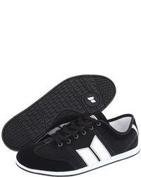 Sneakers basse in pelle scamosciata nere e bianche