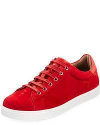 Sneakers basse in pelle scamosciata rosse