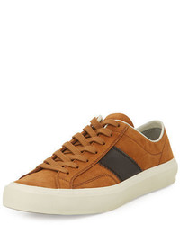 Sneakers basse in pelle scamosciata terracotta