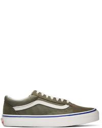 Sneakers basse in pelle scamosciata verde oliva