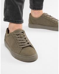 Sneakers basse in pelle scamosciata verde oliva di Kg Kurt Geiger