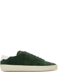 Sneakers basse in pelle scamosciata verde scuro