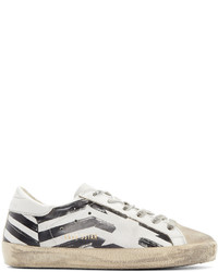 Sneakers basse in pelle stampate bianche