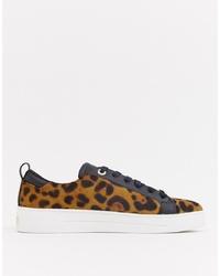 Sneakers basse leopardate marrone chiaro di Ted Baker