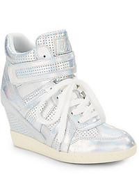 Sneakers con zeppa in pelle argento