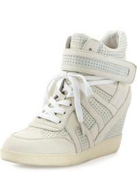 Sneakers con zeppa in pelle grigie