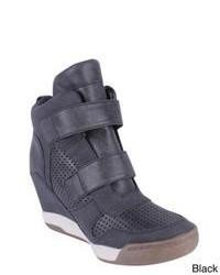 Sneakers con zeppa in pelle grigio scuro