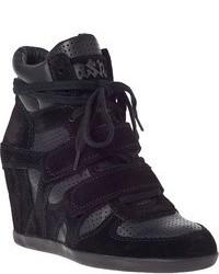 Sneakers con zeppa in pelle scamosciata nere