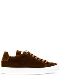 Sneakers in pelle marrone scuro di Jil Sander