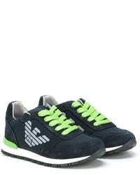 Sneakers in pelle scamosciata blu scuro di Armani Junior