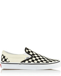 Sneakers senza lacci a quadri bianche e nere