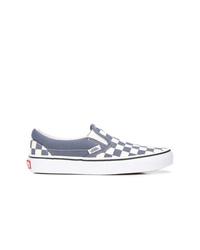 Sneakers senza lacci di tela a quadri grigie