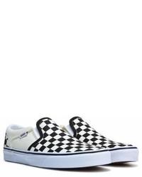 Sneakers senza lacci di tela a quadri nere e bianche