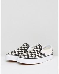 Sneakers senza lacci di tela a quadri nere di Vans