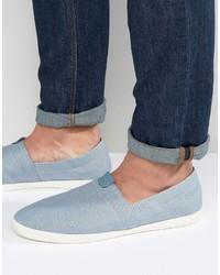 Sneakers senza lacci di tela azzurre