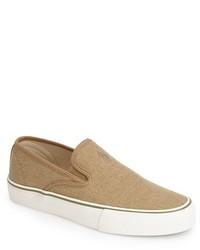 Sneakers senza lacci di tela marrone chiaro