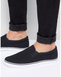 Sneakers senza lacci di tela nere di Asos