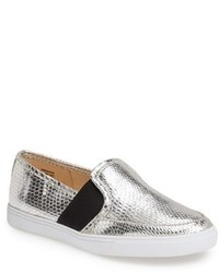 Sneakers senza lacci in pelle argento