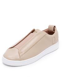 Sneakers senza lacci in pelle beige