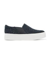 Sneakers senza lacci in pelle blu scuro di Vince