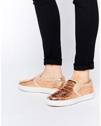 Sneakers senza lacci in pelle dorate di Ted Baker