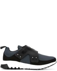 Sneakers senza lacci in pelle grigio scuro di Neil Barrett