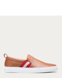Sneakers senza lacci in pelle marrone chiaro