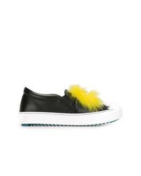 Sneakers senza lacci in pelle nere di Fendi