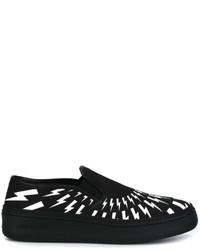 Sneakers senza lacci in pelle nere di Neil Barrett