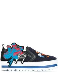 Sneakers senza lacci in pelle ricamate blu scuro di MSGM