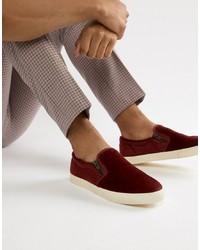 Sneakers senza lacci in pelle scamosciata bordeaux di ASOS DESIGN