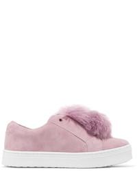 Sneakers senza lacci in pelle scamosciata rosa