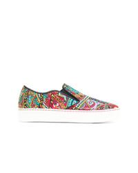 Sneakers senza lacci in pelle stampate multicolori di Etro
