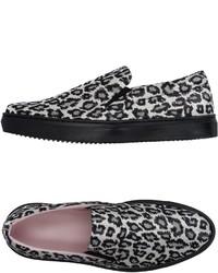 Sneakers senza lacci leopardate bianche e nere