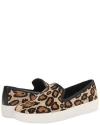 Sneakers senza lacci leopardate marrone chiaro