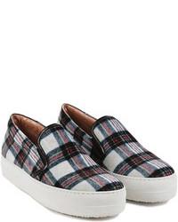 Sneakers senza lacci scozzesi grigie