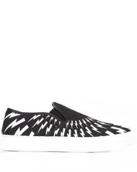 Sneakers senza lacci stampate nere di Neil Barrett