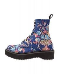 Stivaletti con lacci a fiori blu di Shellys London