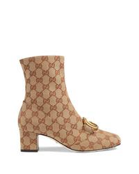 Stivaletti di tela stampati marrone chiaro di Gucci