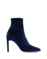 Stivaletti di velluto blu scuro di Giuseppe Zanotti Design