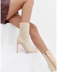 Stivaletti in pelle beige di SIMMI Shoes
