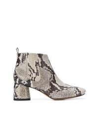 Stivaletti in pelle con stampa serpente grigi di Marc Jacobs