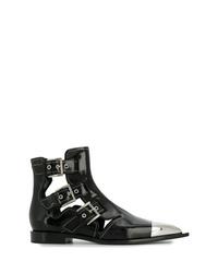 Stivaletti in pelle decorati neri di Alexander McQueen