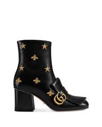 Stivaletti in pelle decorati neri di Gucci