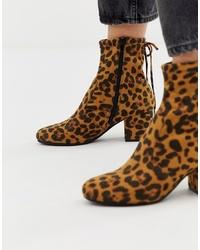 Stivaletti in pelle leopardati marroni di Head over Heels by Dune