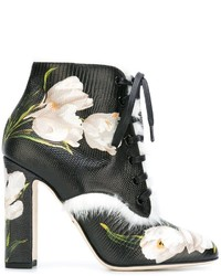 Stivaletti stringati eleganti in pelle neri di Dolce & Gabbana