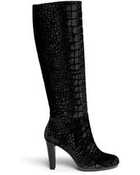 Stivali al ginocchio di velluto neri