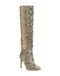 Stivali al ginocchio in pelle con stampa serpente marrone chiaro