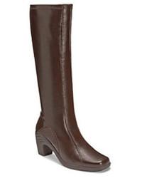 Stivali al ginocchio in pelle marrone scuro