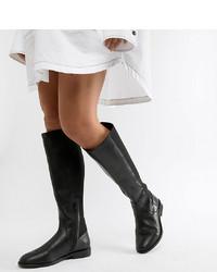 Stivali al ginocchio in pelle neri di ASOS DESIGN